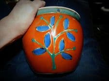 BOLD ART POTTERY PLANTER HANDPAINTED INCISED DESING KEWDOS RUST OCHRE COBALT